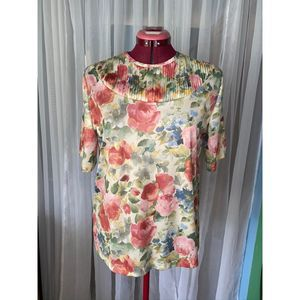 Vintage watercolor floral blouse pleated collar